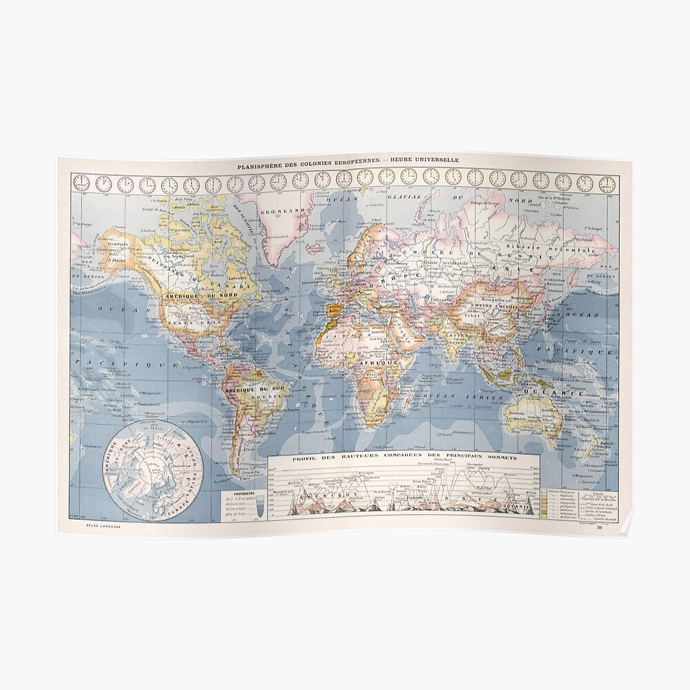 Vintage Map of The World (1900) Poster