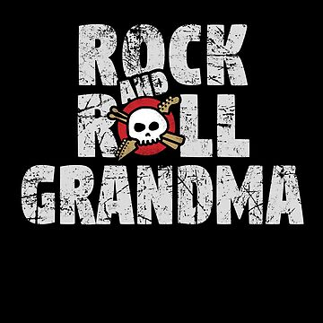 Rock and Roll Grandma Skull and Guitar Logo by SunnyStreet