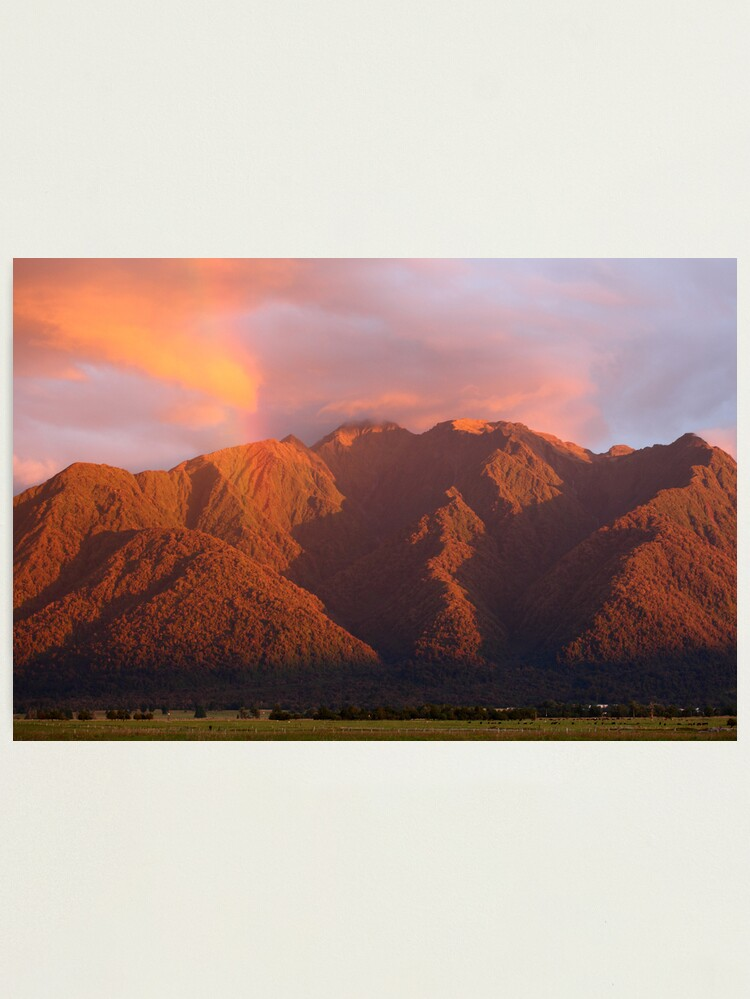 Alternate view of Fox Glacier Valley Sunset, South Island, New Zealand Photographic Print