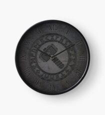 Odin Thor Hammer Mjölnir with Norse Runes eroded grunge - Norse Viking Mythology engraved rock texture Clock
