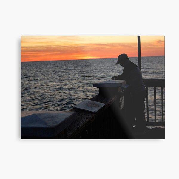Silhoutte Fisherman Metal Print