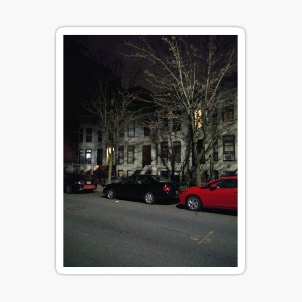New York, Manhattan, Brooklyn, New York City, architecture, street, building, tree, car, pedestrians, day, night, nightlight, house, condominium,  Sticker