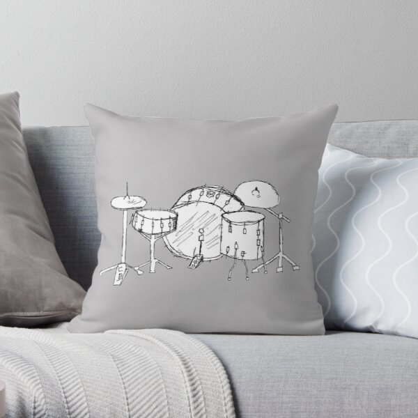 Drum kit drawing Throw Pillow
