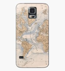 Vintage Map of The World (1884) Case/Skin for Samsung Galaxy