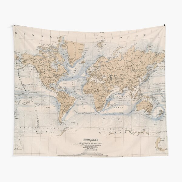 Vintage Map of The World (1884) Tapestry