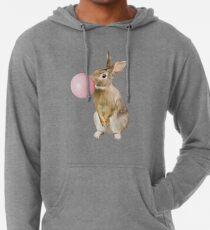 Häschen-Kaninchen mit Kaugummi - nette Schlagblase - Kinderzimmer-Kinderzimmer-Kunst Leichter Hoodie