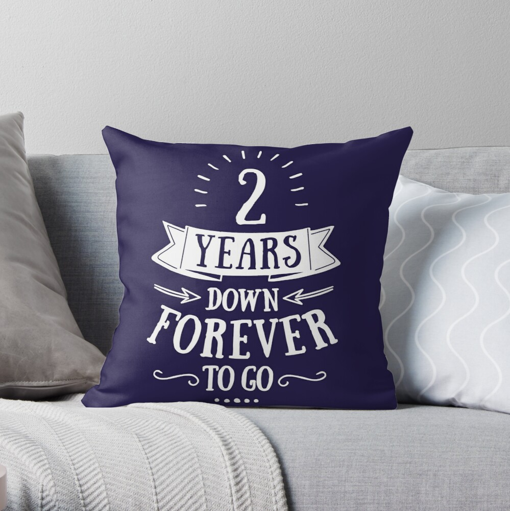 PERSONALISED Cotton Wedding 2nd Anniversary Pillow cases 2YRS DOWN FOREVER TO GO