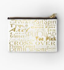 Figure Skating Subway Style Typographic Design Gold Foil Studio Pouch
