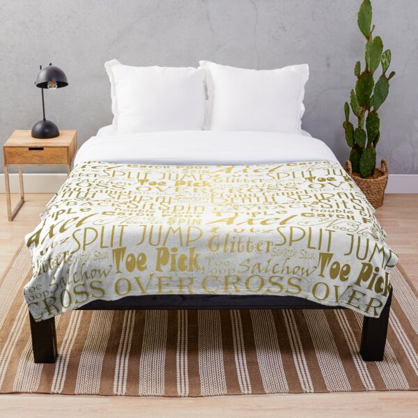 Figure Skating Subway Style Typographic Design Gold Foil Throw Blanket