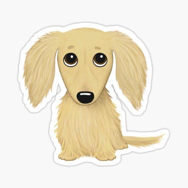 Longhaired Cream Dachshund Cartoon Wiener Dog Sticker