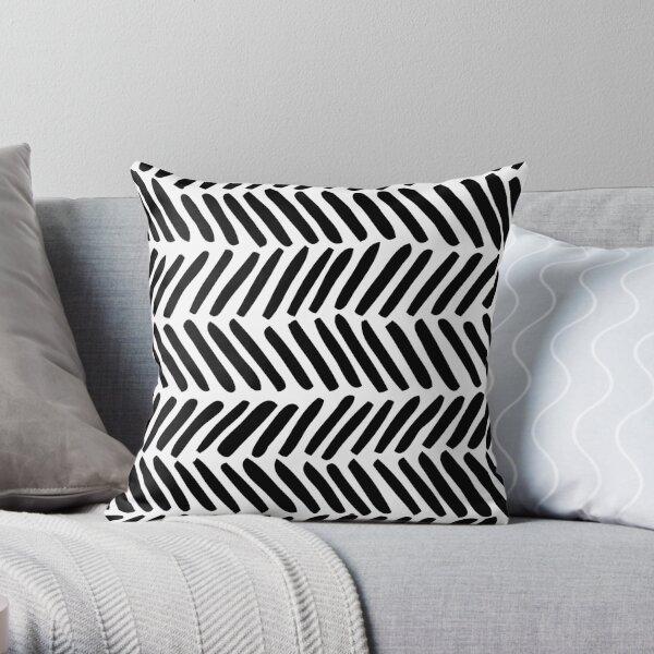 Chevron abstrait noir et blanc Coussin