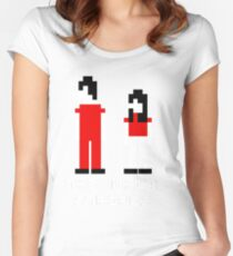 The White Stripes Pixel. Women's Fitted Scoop T-Shirt
