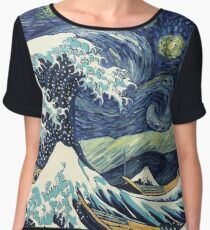 The Great Wave of Pug Starry Night Chiffon Top