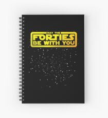 May The Forties Be With You Vintage 40th Birthday Distressed Star Illustration Spiral Notebook