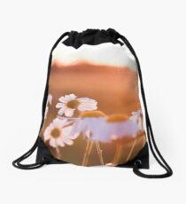 Colorful sunset with flowers Drawstring Bag