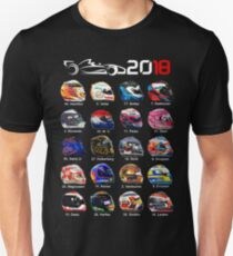 Formula 1 2018, new helmets of drivers Unisex T-Shirt