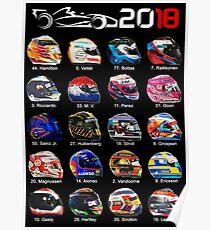 Formula 1 2018, new helmets of drivers Poster