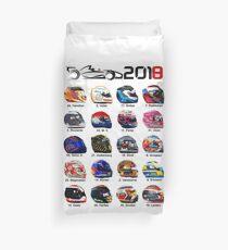 Formula 1 2018, new helmets of drivers white Duvet Cover