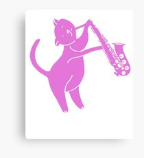 cat playing saxophone - cat saxophone Canvas Print
