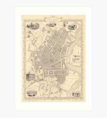 Vintage Map of Belfast Ireland (1851) Art Print