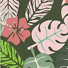 Tropical leaves green and pink paradises  #homedecor #apparel #tropical by susycosta