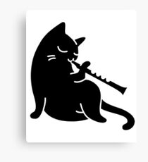 cat playing flute - cat flute Canvas Print