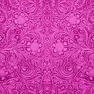 Pink Faux Suede Leather Floral Design by artonwear