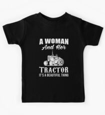 A woman and her tractor Kids Tee