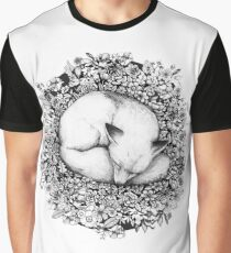 Fox Sleeping in Flowers Graphic T-Shirt