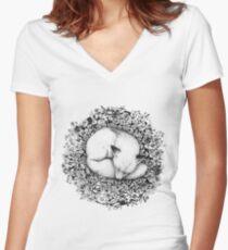 Fox Sleeping in Flowers Women's Fitted V-Neck T-Shirt