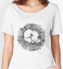 Fox Sleeping in Flowers Women's Relaxed Fit T-Shirt