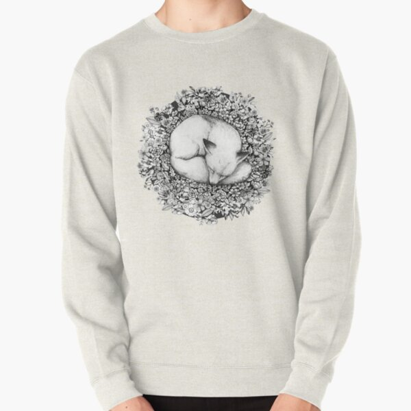 Fox Sleeping in Flowers Pullover Sweatshirt