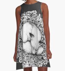 Fox Sleeping in Flowers A-Line Dress