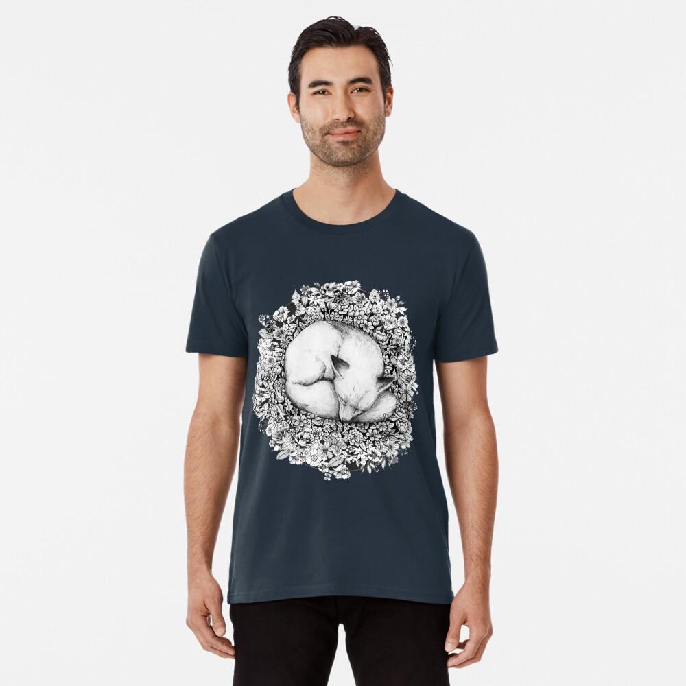 Fox Sleeping in Flowers Premium T-Shirt