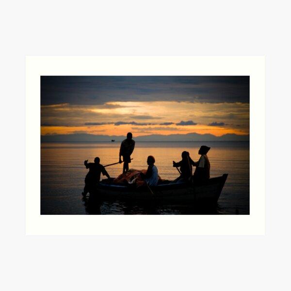 Happy Fishermen, Lake Malawi Art Print