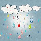 Raining Fishes Home Decor - Clothing Clouds  - Drops Kids Drawing Decor 2018 by rupydetequila