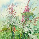 Summer Seed Heads 1 of 3 series (watercolour and mixed media on paper) by Lynne Henderson