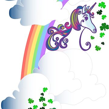 Unicorn Rainbow Shamrocks Irish Whimsical Fantasy Design by vivacandita