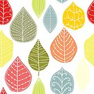Cute Colorful Abstract Leafs Pattern by artonwear