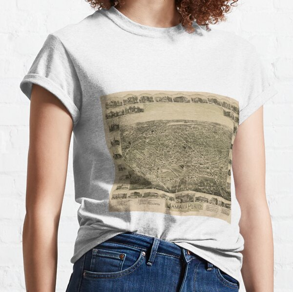 Vintage Pictorial Map of Jamaica Plain MA (1891) Classic T-Shirt