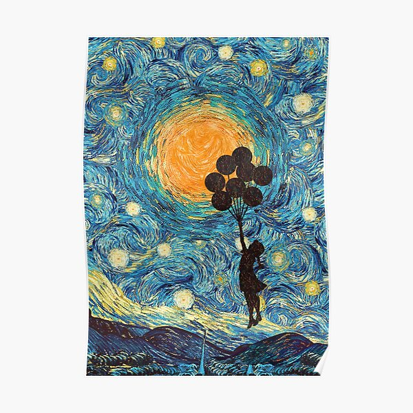 the balloons girl starry night Poster