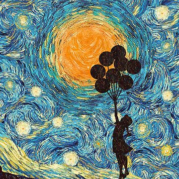 the balloons girl starry night by NadiyaArt