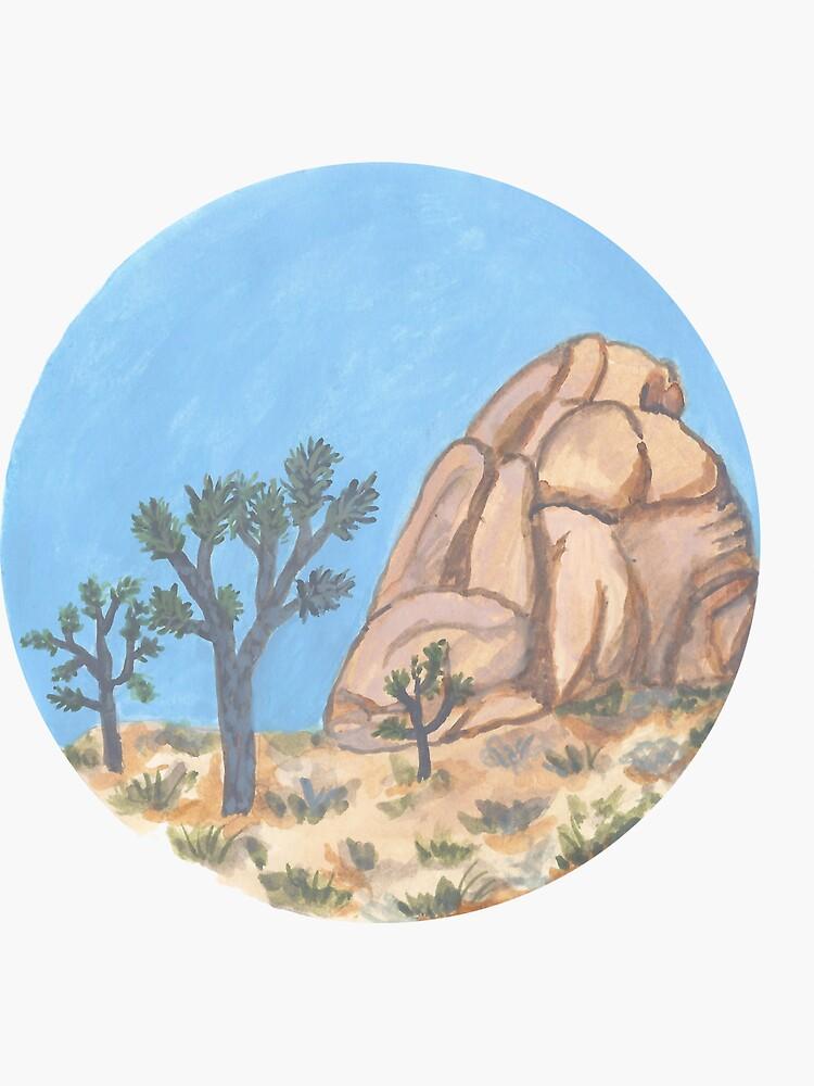 Joshua Tree National Park - hand painted art in circle shape by shoshannahscrib
