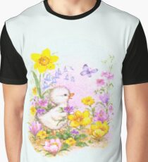 Cute Easter Duckling Chick and Spring Flowers Graphic T-Shirt