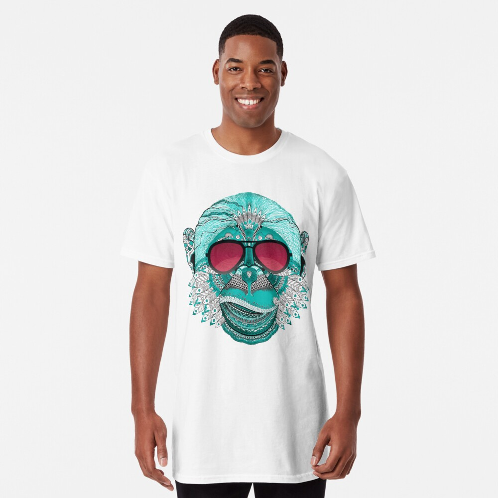 Monkey Mandala India Tatoo Sunglasses Face Mouth Teeth Cool Swag Rap Gangster Street Urban Yoga Chimpanzee India T Shirt By Originalstar Redbubble