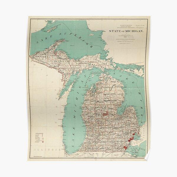 Vintage Map of Michigan (1888) Poster