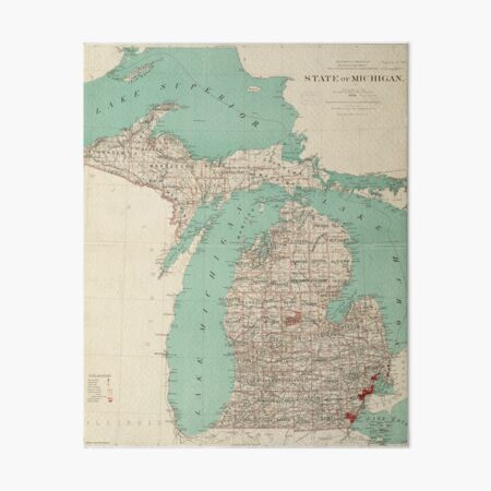 Vintage Map of Michigan (1888) Art Board Print