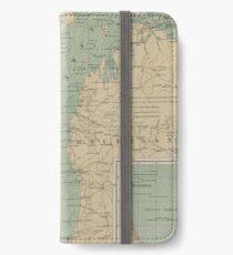 Vintage Lake Michigan Lighthouse Map (1898) iPhone Wallet/Case/Skin