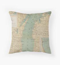 Vintage Lake Michigan Lighthouse Map (1898) Floor Pillow