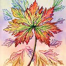 Autumn Leaf (watercolour and mixed media on paper) by Lynne Henderson